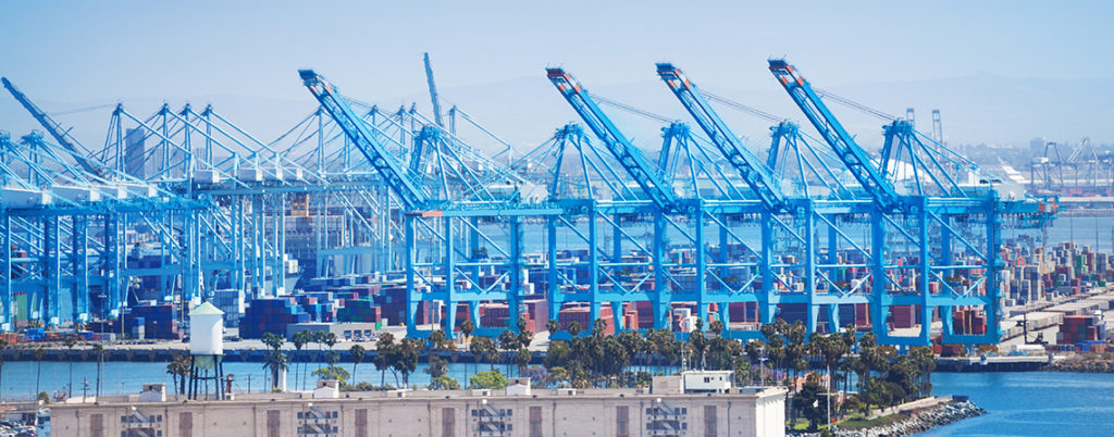 Port of Long Beach - container terminal. Effects of corona pandemic